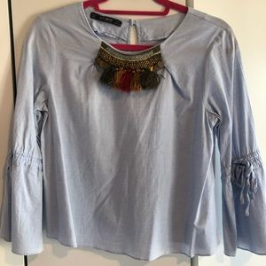 Trendy Blue Zara Top with Bell Sleeves